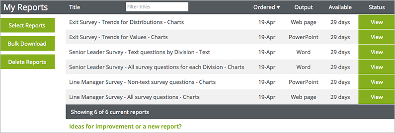 ReportGorilla showing SurveyMonkey reporting results